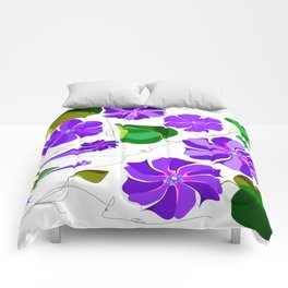 Morning  Glories in Purples and Lavender Comforters