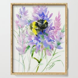 Bumblebee and Lavender Flowers, nature bee honey making decor Serving Tray