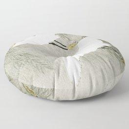 Flying Egrets - Japanese vintage woodblock print Floor Pillow