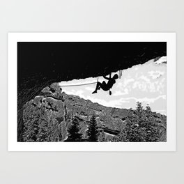 Rock Climber in Steep Cave Black and White Art Print