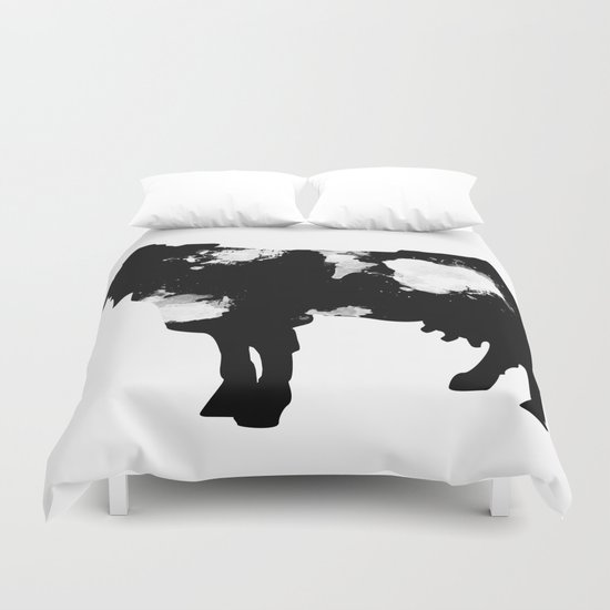 Cow Black and White brush paint splash Duvet Cover