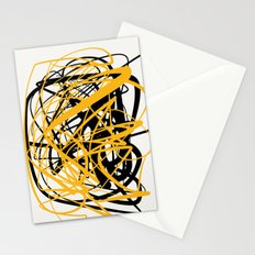 Zen abstract art in yellow and black Stationery Cards