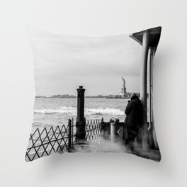 Liberty from the back of The Boat Throw Pillow