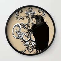 raven Wall Clocks featuring Raven by Кaterina Кalinich