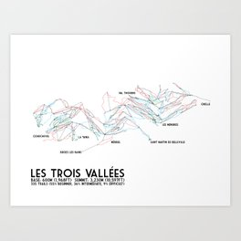 Les Trois Vallees, Savoie, France - EUR Edition (Labeled) - Minimalist Trail Art Art Print