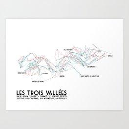 Les Trois Vallees, Savoie, France - EUR Edition (Labeled) - Minimalist Trail Art Art Print