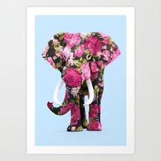 FLORAL ELPHANT Art Print