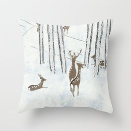 Deers in the snow Throw Pillow