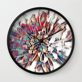Japanese Inspired Lily Design Sketch Wall Clock