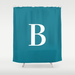 Teal and White Initial Letter B Monogram Shower Curtain
