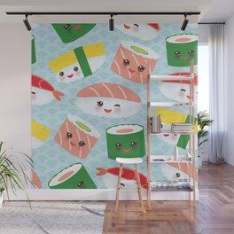 pattern Kawaii funny sushi rolls set with pink cheeks and big eyes, emoji Wall Mural