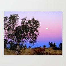 Blue and purple sky moonrise. Canvas Print