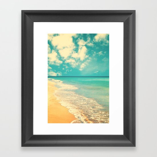 Waves of the sea (retro beach and blue sky) Framed Art Print