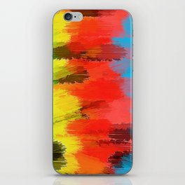 red yellow blue green and black painting texture abstract background iPhone Skin
