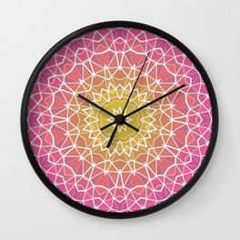 Pink, Orange, and Yellow Kaleidoscope 5 Wall Clock