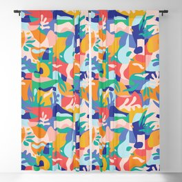 Amalfi Abstraction Pattern / Colourful Modern Shapes Blackout Curtain