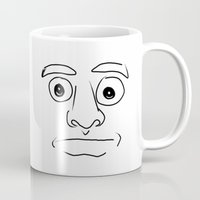 plain Mugs featuring plain face by JESUS MOSES