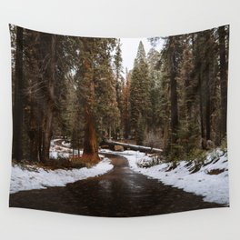 Tunnel Log Road in Sequoia Wall Tapestry