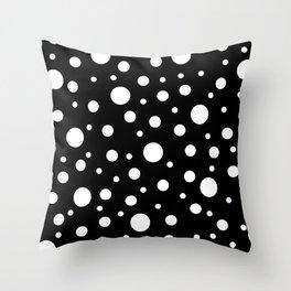 White on Black Polka Dot Pattern Throw Pillow