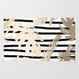 Simply Tropical White Gold Sands Palm Leaves on Stripes Rug