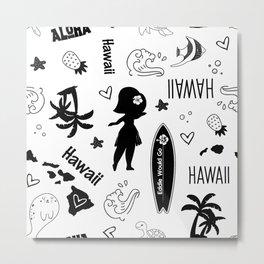 Hawaii State Pattern, State Love, Hawaii Pride, Surfing, Hula Metal Print