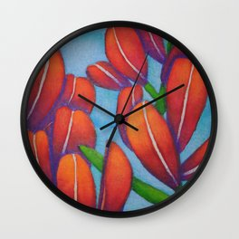 Botanical Painting with Reds and Blues Wall Clock