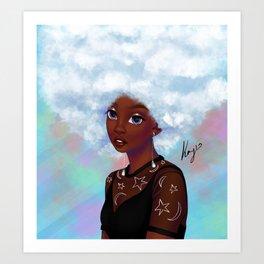 head in the cloud Art Print