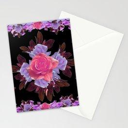 LAVENDER PINK ROSE GARDEN LILAC ROSES FLOWERS Art Stationery Cards