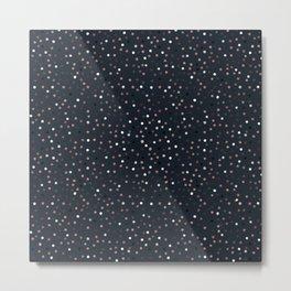 Elegant Rose Gold Dots Confetti Blue Design Metal Print