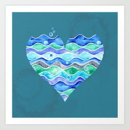 A Sea of Love (blue) Art Print