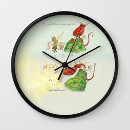 Get Well Soon- Poor Red Dragon  Wall Clock
