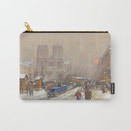 Notre Dame, Paris Winter City Scene by Eugene Galien Laloue Carry-All Pouch