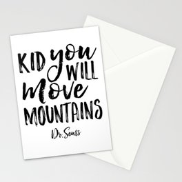 Kid You'll Move Mountains, Birthday,Kids Room Decor,Kids Gift,Children Quote Baby,Typography art Stationery Cards