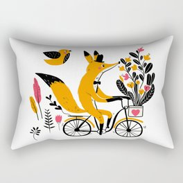 Fancy Mister Foxly Meets A Feathered Friend Rectangular Pillow