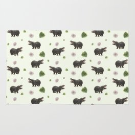 Hippos and Flowers Rug