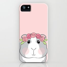 Adorable Grey Guinea Pig with Pink Rosebuds iPhone Case