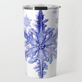 DECORATIVE PURPLE TINTED SNOWFLAKES ON  WHITE Travel Mug