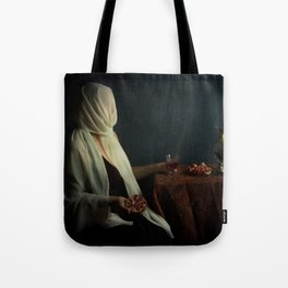 Lady justice with  pomegranate Tote Bag