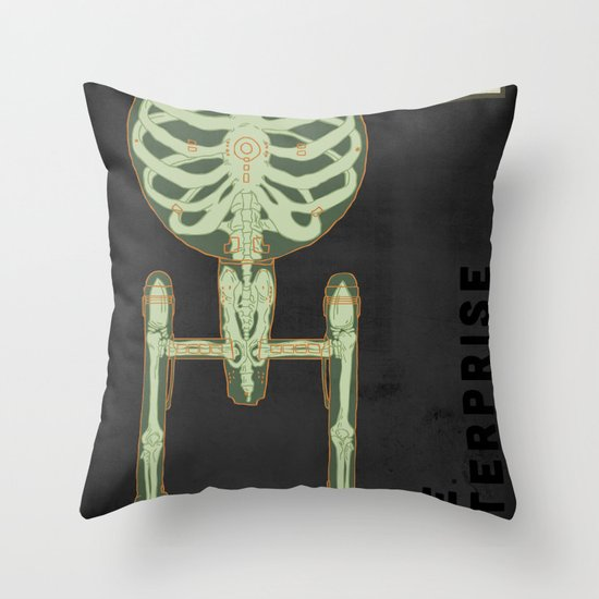 Spaceship Skeletal Survey: The Enterprise Throw Pillow