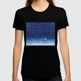 Follow the garland of stars, ocean, sailboat T-shirt