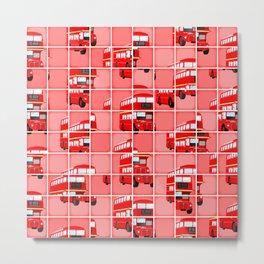 London Bus Pixel Puzzle Metal Print
