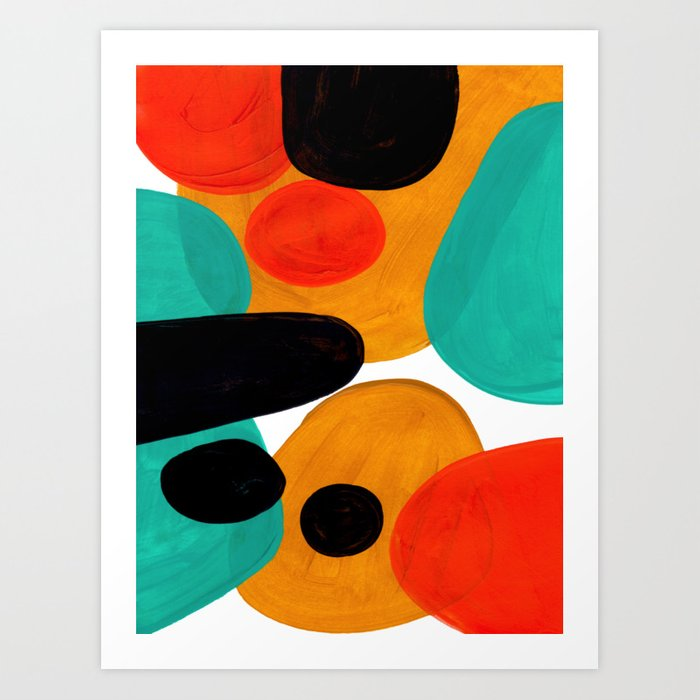 Mid Century Modern Abstract Minimalist Retro Vintage Style Rolie Polie Olie Bubbles Teal Orange Art Print By Enshape Society6
