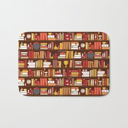 Book Case Pattern - Red and Gold Bath Mat