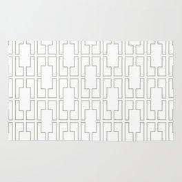 Simply Mid-Century Retro Gray on White Rug