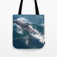 dolphin Tote Bags featuring Dolphin by WonderfulDreamPicture