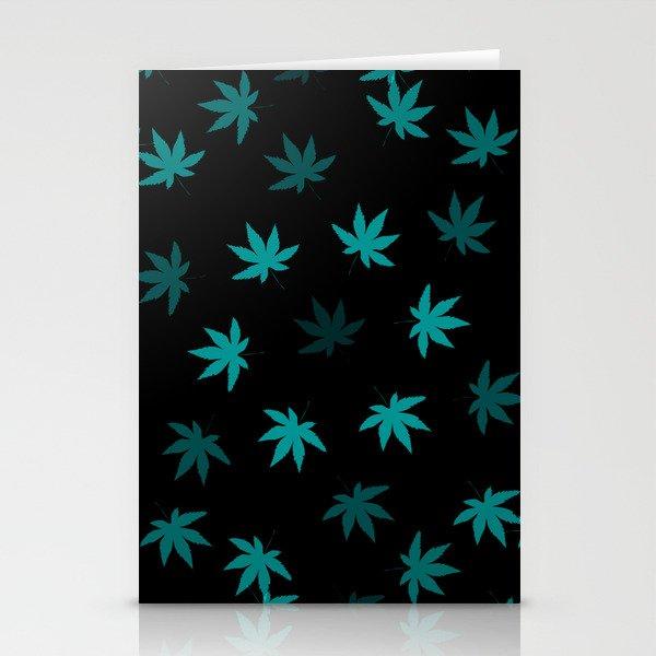 Black & Teal Kush Leaf Stationery Cards