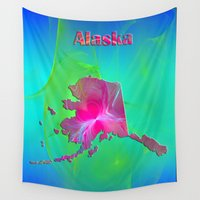 alaska Wall Tapestries featuring Alaska Map by Roger Wedegis