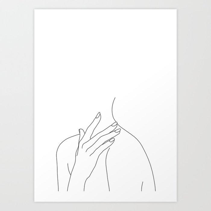 Female body line drawing - Danna Kunstdrucke