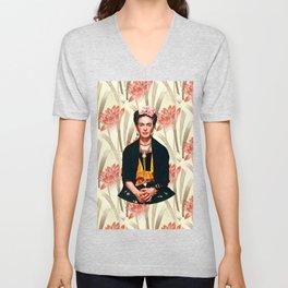 Frida Kahlo Queen of Flowers Unisex V-Neck