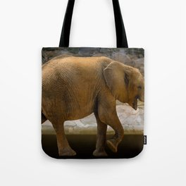 Cheerful elephant with flowers Tote Bag